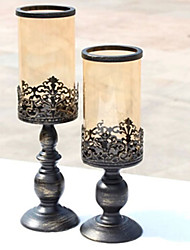 European Classical Style  Black With Gold Small  Candleholder