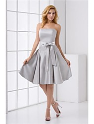 Formal Evening Dress A-line Strapless Short / Mini Satin with Sash / Ribbon