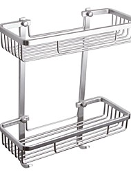 2-Tier Rectangular Tub and Shower Basket Wall Mount, Aluminum
