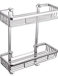 2-Tier Rectangular Tub and Shower Basket Wall Mount, Aluminum