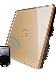 Livolo panel de Reino Unido estándar de lujo de vidrio de cristal de oro, 1 de pandillas 1 manera, interruptor táctil remoto luz en casa