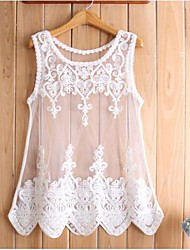 Women's Strapless/Crew Neck/Round Neck Lace Dress , Lace/Chiffon Above Knee Sleeveless