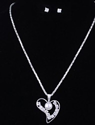 Fashion Pearl Heart Silver Alloy (Includes Necklace&Earrings) Jewelry Set (1 Set)