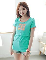 Women's Printed Cute Breastfeeding T-shirt Nursing Maternity Top
