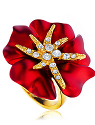 Arinna Fire Red Blooming Flower Ladies Cocktail Ring Crystals 18K Yellow Gold Plated J1576