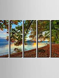 e-home® lona esticada arte da paisagem do lago Cenário pintura de 5