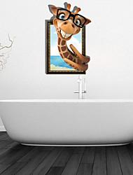 3d adesivos de parede decalques de parede, vidros de parede girafa decoração do banheiro mural pvc adesivos