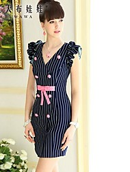 Pink Doll® Women's V Neck Elegant OL Sleeveless Slimming Dress