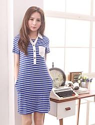 Women's Striped Cute Bust Pocket Shirt Collar Maternity Dress Nursing Breastfeeding Clothes