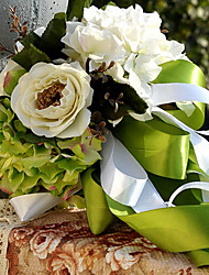 Romantic Green Wedding Bouquet Silk Cloth Wedding Bride Holding Flowers