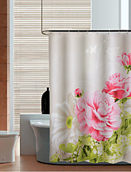 Peony Thicken Fabric Waterproof Shower Curtain