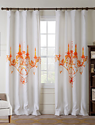 One Panel  Home Fashion Modern Polyester Orange Lamp Print Curtain