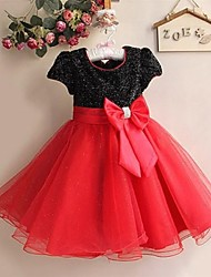 Flower Girl Dress Knee-length Satin/Tulle A-line/Princess Short Sleeve Dress