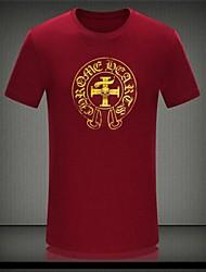 T-shirt Uomo Casual Con stampe Cotone Manica corta-Nero / Rosso / Bianco