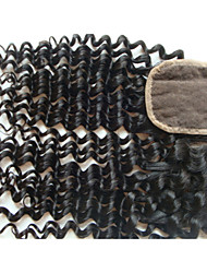 "20"" Brazilian Virgin Hair Curly Closure Pieces Lace Closure 4""x4"" Free Style 1Pc Natural Colour"