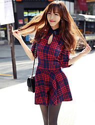 Ai.mi  Women's European Cut Out Bowknot Check 3/4 Sleeve Suit Skirt
