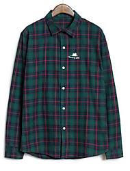 Men's Long Sleeve Shirt , Cotton Casual/Formal Plaids & Checks/Pure