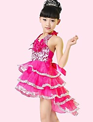 Latin Dance Children's Polyester/Lycra pleated Performance Dress(Blue/Fuchsia/Yellow) Kids Dance Costumes