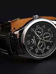 Chenxi três dashboard pulseira de couro estilo do esporte 3d padrão de relógio de quartzo