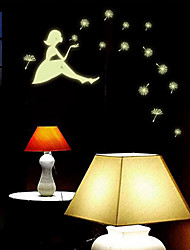 Luminous Environmental Removable Dandelion Seeds Blowwing Girl Wall Sticker