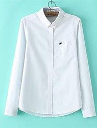 Women's Solid Blue/Pink/White Blouse , Shirt Collar Long Sleeve