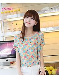 Women's Casua Loose Printed Chiffon Short Sleeve T-shirt Printing Bat Sleeve Chiffon Blouse Large Size