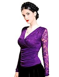 Women's V- neck Lace Fashion Slim T-shirt