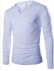 Fistnz Men's Solid Color Long Sleeve Sheath Shirt