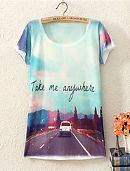 Women's CLOTHING O-Neck 2015  Fashion Summer Dress Top Sale Print Fashion On The Way Style T Shirt(Cotton Blends)