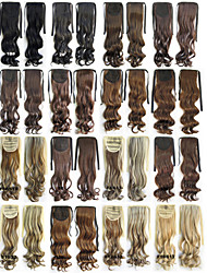 "Angelaicos Womens 22"" Small Curly Hairpiece Ribbon Wrap Around Hair Ponytails Long Wavy Brown Blonde Hair Extension"
