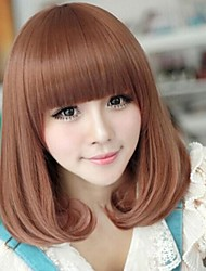 Angelaicos Women Lolita Modern Design OL Sexy Nightclub Party Charming Hair Full Cute Bob Wigs Medium Brown Blonde