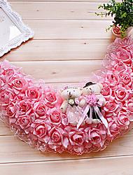 """19.7 """"estilo rural guirnalda de flores de color rosa con la simulación juguete lleva plástico semi-círculo guirnalda"""