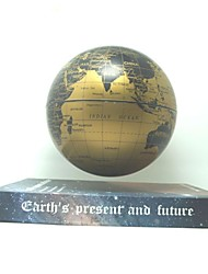 "6"" Rotating Magnetic Levitation Floating Gold Globe Map with Brown Earth Book Base"