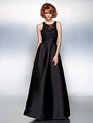 Prom / Formal Evening Dress Plus Size / Petite A-line Jewel Floor-length Satin with Appliques / Sash / Ribbon / Ruching