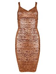 Women's Gold Metallic Bandage Dress