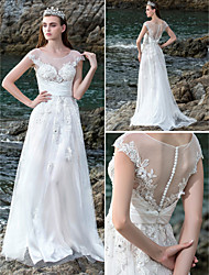Lanting Bride® A-line Petite / Plus Sizes Wedding Dress See-Through Wedding Dresses Court Train Scoop Chiffon / Stretch Satin with