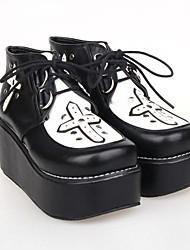 Black PU Leather 6.5CM Platform  Punk Lolita Shoes