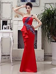 Formal Evening Dress - Ruby Plus Sizes Trumpet/Mermaid One Shoulder Floor-length Satin