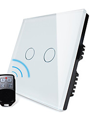 estándar del Reino Unido, Livolo blanco panel de vidrio de cristal, la luz en casa a distancia inalámbrico, 2gang 2 interruptor de modo, 110-250VAC