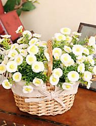 """8.3 """"h estilo rural flores de simulación margarita blanca en la cesta de mimbre de flores"""