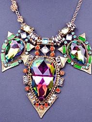 Large stones color crystal Ladies' Alloy Necklace With Crystal