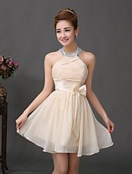 Wedding Party Dress A-line Halter Short/Mini Chiffon Dress