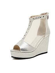 Sandalias ( Plateado/Dorado Zapatos con plataforma/Punta abierta - Tacón Cuña - Cuero de charol - para MUJERES