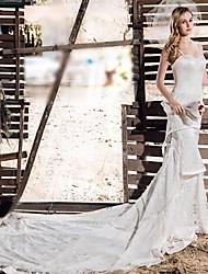 A-line Chapel Train Wedding Dress -Spaghetti Straps Lace