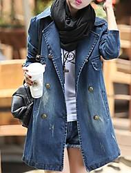 Women's Vintage/Casual Cotton Coat , Long Sleeve