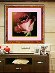 Diy Diamond Crossing Stitch Red Rose Crystal Embroidered Floral Pattern Plant Sitting Room Romance Decor 31*31cm