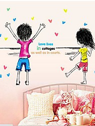 autoadesivo della parete soggiorno / camera da letto cartonn ragazzo e ragazza rimovibile per bambini