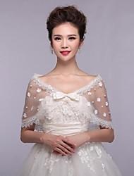 Hochzeitsverpackungen Stola ärmellose Spitze weiß
