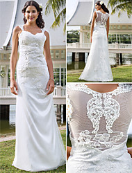 Sheath/Column Plus Sizes Wedding Dress - Ivory Floor-length V-neck Tulle/Lace