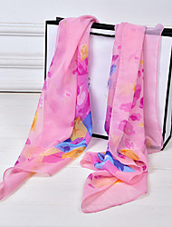 Lady's Casual Flora Print Chiffion Square Scarf Shawls(Assorted Color)